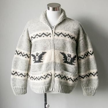 1970s Cowichan Sweater Wool Thunderbird Cardigan XL by dejavintageboutique