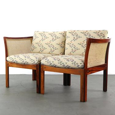 Modular Two Seater Sofa / Chairs by Illum Wikkelsø in Rosewood and Cane by ABTModern