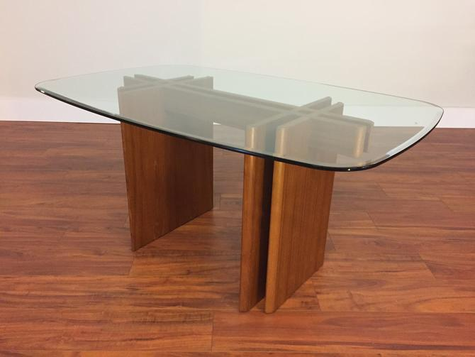 Teak and Beveled Glass Dining Table by Gustav Gaarde - Made in Denmark by Vintagefurnitureetc