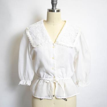 Vintage 1970s Blouse Cropped Boho Top Ivory Lace 70s Small by dejavintageboutique