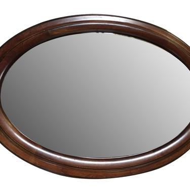 Victorian Style Dark Stain Oval Beveled Edge Wall Mirror by HarveysonBeverly