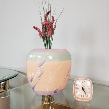 Art Deco Ceramic Vase, Pastel Color Block Pink/Purple/Blue/White, Narrow Oval Shape with Oblong Opening, Dried Florals Flower Vessel by SavageCactusCo