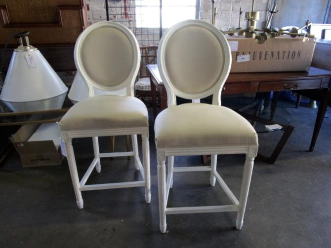 PAIR OF RESTORATION HARDWARE OVAL BACK COUNTER STOOLS