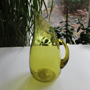 Blenko Winslow Anderson Large Green Blown Glass Pitcher / Jug American Mid Century Modern by FancyHaus