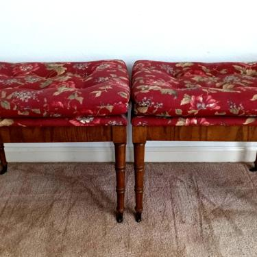 Pair Faux Bamboo Stools /Ottomans on Casters by ModernPicks