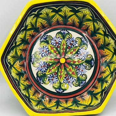 "Vintage Talavera de capris El Salvador Art Pottery Hand Painted Octagon Fruit Salad Bowl- Bright Orange and Blue Green Colors- 12"" by JoAnntiques"