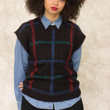 1980s Mohair Plaid Sweater Vest by waywardcollection
