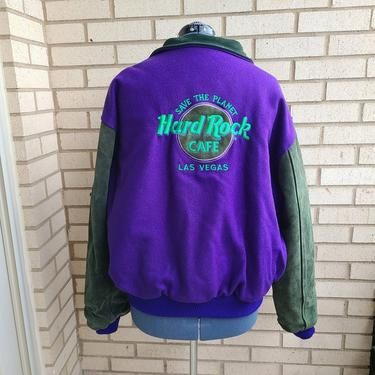 "Vintage Hard Rock Cafe Las Vegas ""Save The Planet"" Varsity Jacket, Green and Purple Jacket, Green Suede Jacket, XL/XXL by BellsAndWhistlesEtc"