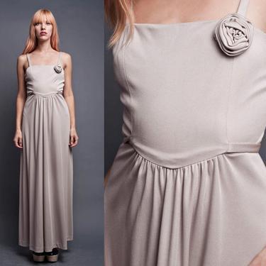 Vintage 70s Maxi Dress Slinky Hostess Drape Goddess Rosette Shimmery Pewter Silver S SMALL by shoprabbithole