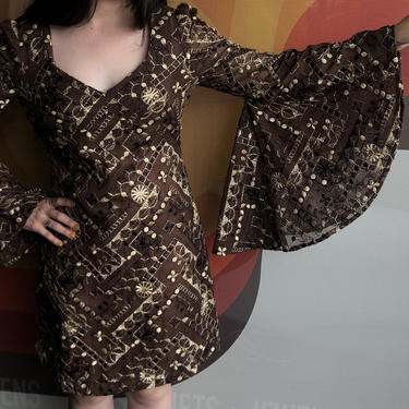 70's Homemade Bell Sleeve Mini by laloupevintage
