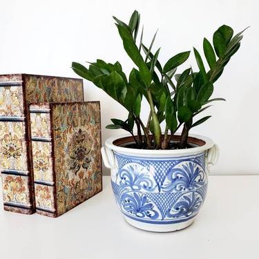 Vintage Studio Pottery Blue & White Stoneware Planter with Drainage by pennyportland