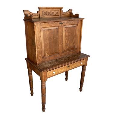 Large Hand Carved Antique Edwardian Secretary Desk by HarveysonBeverly