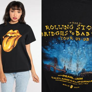 Rolling Stones T Shirt 1997 Pearl Jam Shirt 90s Band Shirt Lips Concert T Shirt Bridges To Babylon Rock N Roll Tour Tee Anvil Small by ShopExile