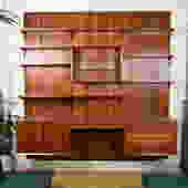 4-Panel Danish Modern Walnut Adjustable Wall Unit