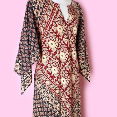 vtg Kaftan Long Dress Hippie Boho Cotton 1960's, 1970's Batik Cotton, Scarf style flared sleeves, Vintage Caftan Block Print India Pakistan by Boutique369
