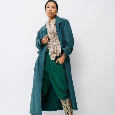 FLEET STREET Vintage Green Trenchcoat, Size 8