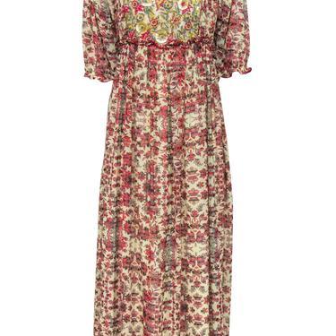 Bhanuni - Beige & Red Floral Print Maxi Dress w/ Beading & Sequins Sz 8