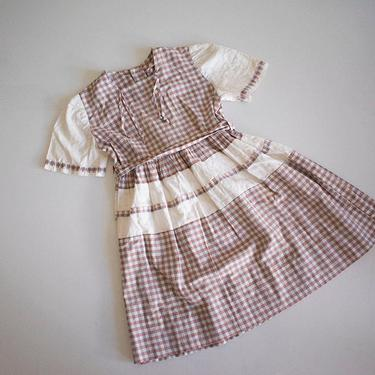 Brown Gingham 1950s Toddler Dress / 4T Plaid Dress / True Vintage Kids Dress / Cotton 1950s Farm Dress  / True Vintage Toddler Dress / Farm by milkandice