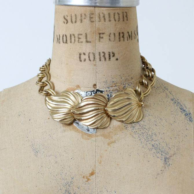 vintage 1990s does 1940s bold statement necklace • bright gold oversized leaves & thick chain by LivingThreadsVintage