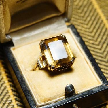 Vintage 10k Gold Smoky Quartz Cocktail Ring, Prong-Set Champagne Gemstone, Emerald Cut, Yellow Gold Setting & Band, Size 6 1/4 US by shopGoodsVintage