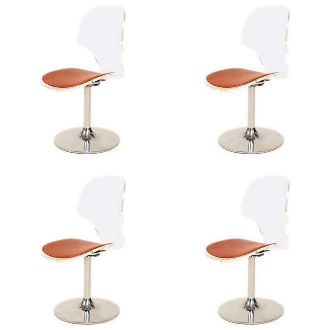 Charles Hollis Jones Style 1980s Splashy Modern Lucite Chrome Dining Chair Set 4 by AMBIANIC