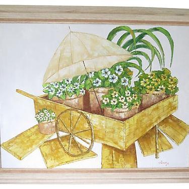 Original Vintage Painting, Oil on Canvas, Yellow Flower Cart by BostonVintageStudio