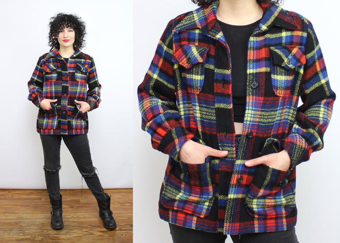 Vintage 70's Wool Plaid Flannel / 1970's Thick Flannel with Pockets / Wool Shirt / Dark Plaid Winter Shirt / Blouse / Women's Size Small by RubyThreadsVintage