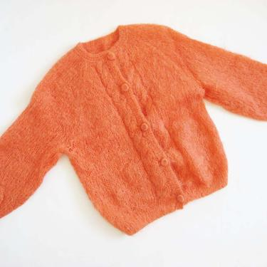 Vintage 60s Mohair Cardigan M - Coral Pink Fuzzy Mohair Wool Cardigan Sweater - Cable  Knit Cardigan - Oversized Fuzzy Knit Sweater by MILKTEETHS