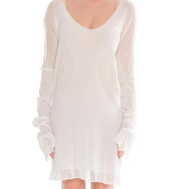 1990S  ISSEY MIYAKE White Cotton Engineered Mesh Circular Knit Dress With Pockets by SHOPMORPHEW