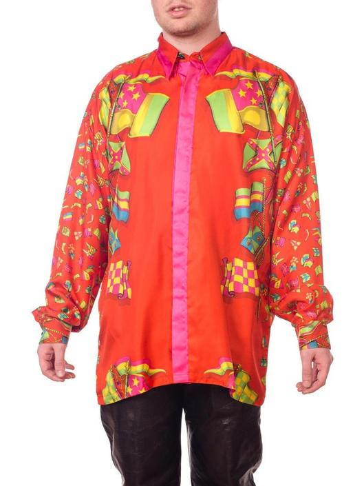 1990S Gianni Versace Red Silk Twill Nautical Flag Printed Miami Beach Collection Shirt by SHOPMORPHEW