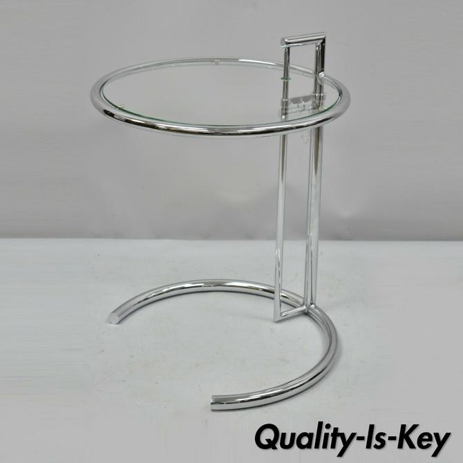 Vintage Mid Century Modern Chrome Glass Eileen Gray Style Adjustable Side Table