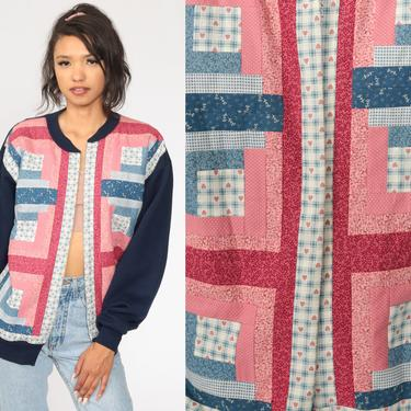 Patchwork Cardigan Sweater 80s Open Front Sweatshirt Boho Hippie Pink Navy Blue 1980s Preppy Grandma Vintage Large by ShopExile
