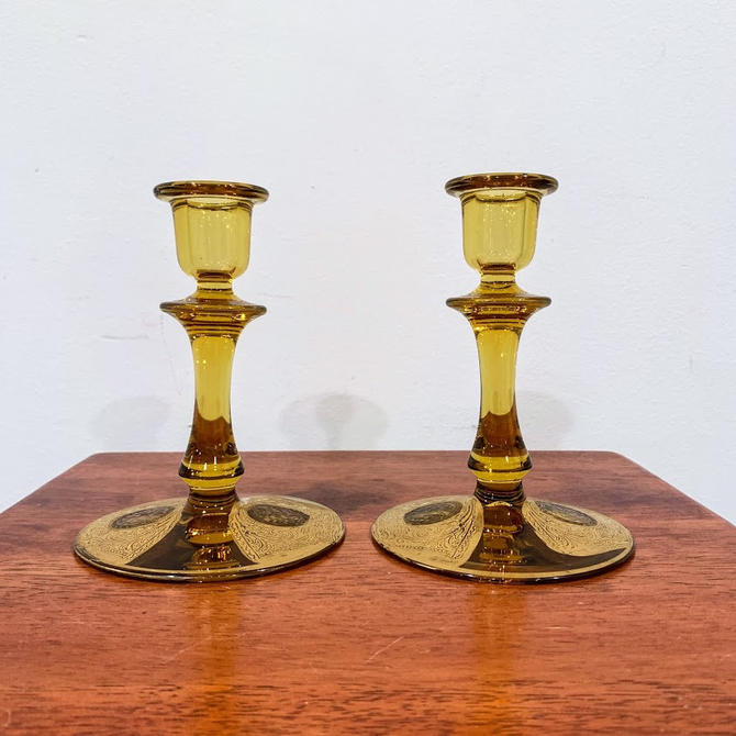 Vintage Duncan Miller Salome Etch and Gold Paint Amber Glass Candlesticks by OverTheYearsFinds