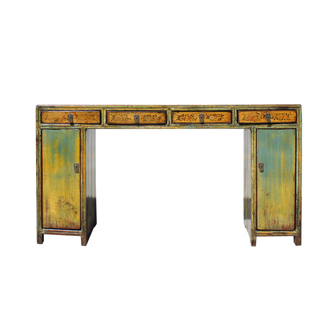 Chinese Distressed Blue Mustard Yellow 4 Drawers Console Altar Table cs5759E by GoldenLotusAntiques