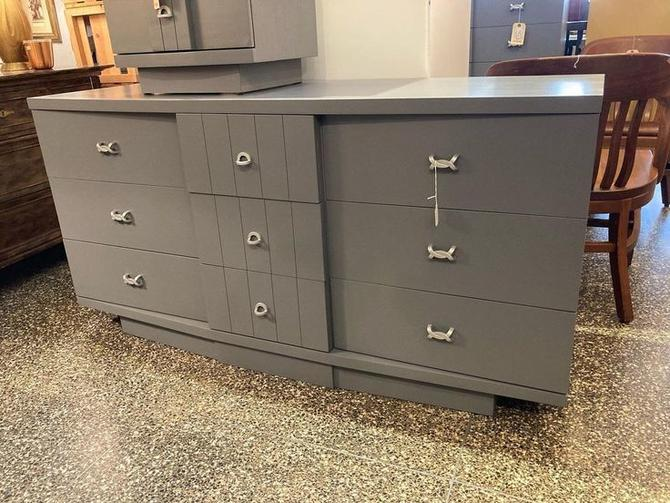 """Gray painted mid century dresser by the J.B. VanSciver Co. 9 drawers 60"""" x 19"""" x 30"""""""