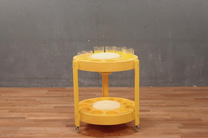 Retro Yellow Plastic 2-Tier Bar Cart Set – ONLINE ONLY