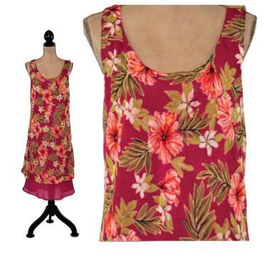Layered Chiffon Floral Dress Large, Summer Dress Women, Midi Dress Size 14, Hawaiian Tropical Print, Hibiscus & Leaf, Y2K Vintage Clothing by MagpieandOtis