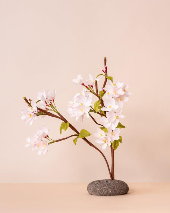 Crepe Paper Blooming Cherry Blossom Branch -- Paper Flowers for Home Decor or Weddings by ReveryPaperFlora