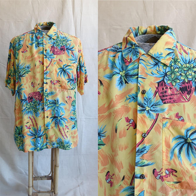 Vintage 90s Rayon Hawaiian Shirt/ 1990s GAP Surfer Palm Tree Hawaii/ Loop Collar/ Size Large by bottleofbread