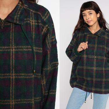 Plaid Fleece Jacket Plaid Pullover Sweater 90s Grunge Sweatshirt 1990s Vintage Purple Green Medium by ShopExile