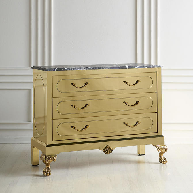 Brass Clad Dresser with Nero Marquina Marble Top