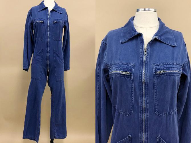 Vintage 1980s Blue Utility Coveralls, 80s Vintage Workwear, Women's Jumpsuit, Vintage Everyday Wear, Size Petite Sm/Med or Teen Large by MobyDickVintage