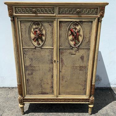 Rustic Cabinet Primitive Hutch Carved Wood County French Provincial Cane Display Case Shabby Chic Furniture Vintage Storage Bookcase Armoire by DejaVuDecors