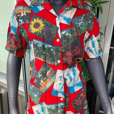 1980s Liz Claiborne LIZWEAR Hawaiian Shirt Rayon Photo Montage Bright RED Scarlet Removable Shoulder Pads Sunflowers by AIDSActionCommittee