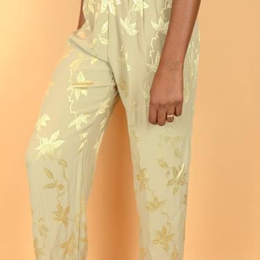 Vintage Beige Gold Bronze Floral Leaf Print High Rise Pleated Pants Trousers by MAWSUPPLY