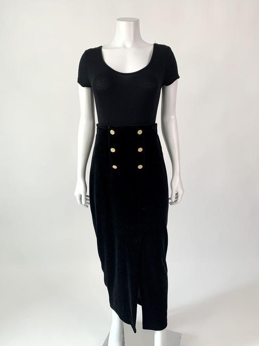 Amazing Velvet Maxi Skirt w/ Gold Buttons