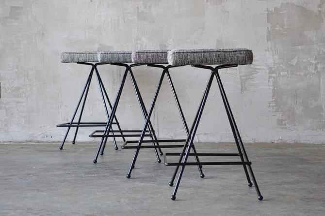 Set of 4 Iron Counter-Height Stools. by FandFVintage