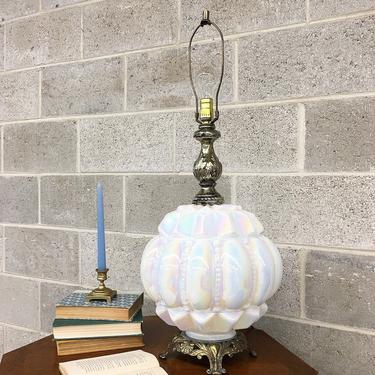 Vintage Table Lamp Retro 1960s Mid Century Modern + Hollywood Regency + Opalescent + White Pearlescent Glass + Large +  MCM + Mood Lighting by RetrospectVintage215