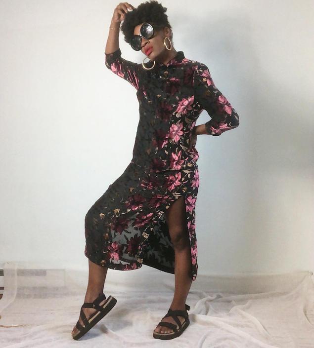 Vintage 1990s 2000s 90s Dress Mandarin Collar Cheongsam Burnout Velvet Long Sleeve Floral Roses Side Slits 00s Y2K by KeepersVintage