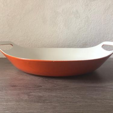 Copco Enamel 13 Inch Orange Oval Paella Pan with Handles Michael Lax, Roasting, Baking, Serving Pan Orange Enameled Cast Iron, Mid Century by PKFlamingoVintage